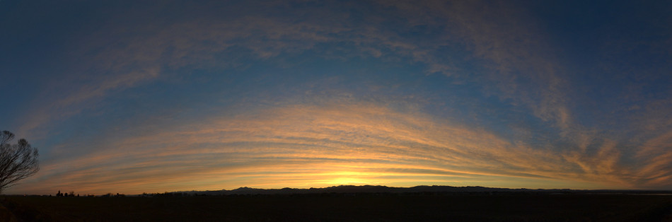 Orange Panoramic Sunset Clouds, Cirrus