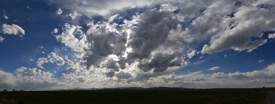 Stratus Clouds Panoramic, Backlit God's Rays