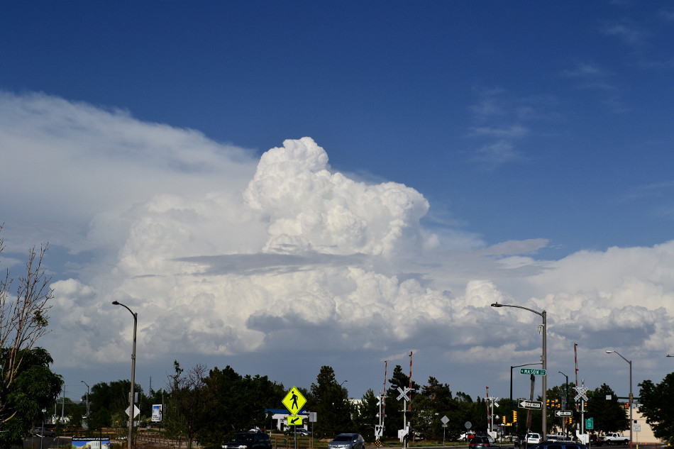 Old Town Fort Collins: Summer Afternoon Fluffy Cumulus Clouds
