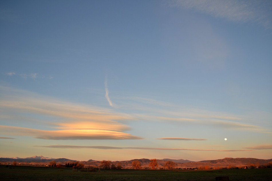 Lenticular Clouds & Moon at Sunrise